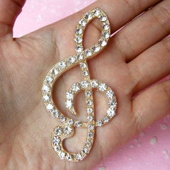 G-Clef Metal Cabochon / Musical Symbol Music Note Cabochon (Gold with Clear Rhinestones / 35mm x 73mm) Bling Decor Cell Phone Deco CAB116