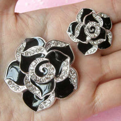 Rhinestone Flower Cabochon / Rose Metal Cabochon (2pcs / Black, Silver / 27mm & 42mm) Bling Bling Cellphone Deco Hair Bow Center CAB119