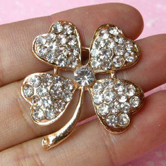 Four Leaf Clover Cabochon / Rhinestone Clover Pendant Charm / Alloy Metal Cabochon (Gold / 32mm x 35mm) Bling Floral Embellishment CAB121