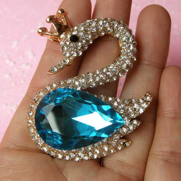 Large Swan Metal Cabochon with Rhinestones / Animal Cabochon (Blue / 43mm x 53mm) Bling Bling Embellishment Bird Jewellery Decoden CAB126