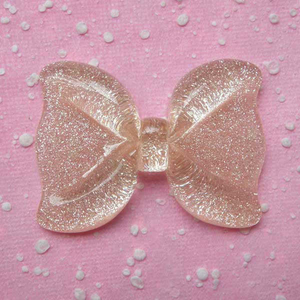 DEFECT Large Resin Bow Cabochon / Big Glitter Bowtie Cabochon (54mm x 40mm / Clear) Decora Fairy Kei Cellphone Case Kawaii Decoden Supplies CAB128