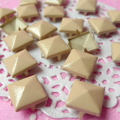 Rivet / CREAM Metal Pyramid Rivet Studs / Square Rivet 12mm (around 50pcs) for Cell Phone Deco / Leather Craft / Jean Button, etc RT17