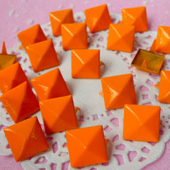 Rivet / ORANGE Metal Pyramid Rivet Studs / Square Rivet 12mm (around 50pcs) for Cell Phone Deco / Leather Craft / Jean Button, etc  RT16