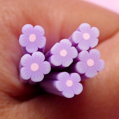 Light Purple Flower Polymer Clay Cane Fimo Cane Fake Miniature Sweet Decoration Nail Art Nail Deco Scrapbooking Earrings Making CFW067