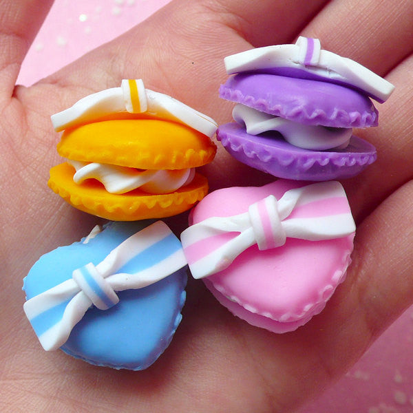 Heart Macaron Cabochon w/ Bow (4pcs / 24mm x 22mm / Pink, Purple, Orange & Blue / 3D) Polymer Clay Sweets Deco Kawaii Embellishment FCAB057