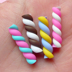 Coloful Marshmallow Clay Cane (4pcs / 5mm x 25mm) Dollhouse Candy Fake Cupcake Toppings Cell Phone Sweets Deco Kawaii Decoden Supply FCAB052