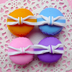 Polymer Clay Macaron Cabochon w/ Bow (4pcs / 23mm x 20mm / Pink, Purple, Orange & Blue / 3D) Fimo Sweets Decoden Fake Food Jewellery FCAB056