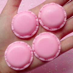 Macaron Cabochon French Dessert Macaroon Cabochon (4pcs / 34mm / Strawberry Pink / Flat Back) Fake Sweets Craft Kawaii Food Jewelry FCAB058