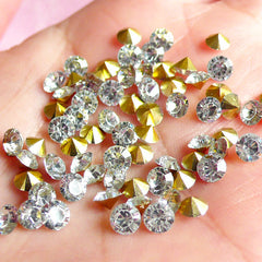 DEFECT 4mm SS16 Resin Rhinestones (Tip End / Pointed Back / Clear / Around 80 pcs) Round Faceted Cut Round Rhinestones RHE033