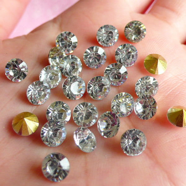 DEFECT 6mm SS28 Resin Rhinestones (Tip End / Pointed Back / Clear / Around 25 pcs) Round Faceted Cut Round Rhinestones RHE034