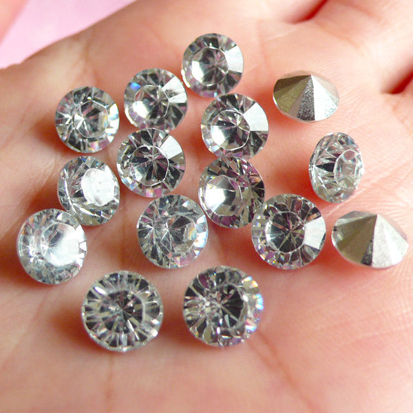 DEFECT 7mm SS34 Resin Rhinestones (Tip End / Pointed Back / Clear / Around 15 pcs) Round Faceted Cut Round Rhinestones RHE035