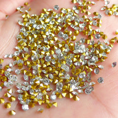2mm SS6 Resin Rhinestones (Tip End / Pointed Back / Clear / Around 150 pcs) Round Faceted Cut Round Rhinestones RHE031
