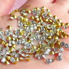 DEFECT 3mm SS12 Resin Rhinestones (Tip End / Pointed Back / Clear / Around 120 pcs) Round Faceted Cut Round Rhinestones RHE032