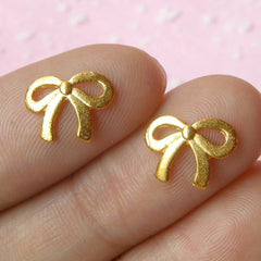 Mini Ribbon Cabochon Set (Gold) (2pcs) (11mm) Fake Miniature Cupcake Topper Nail Art Decoration Scrapbooking NAC044