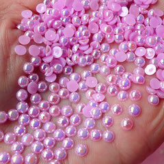 4mm AB PURPLE Half Pearl Cabochons / Round Flat Back Faux Pearlized Cabochons (around 200-250 pcs) PEAB-E4