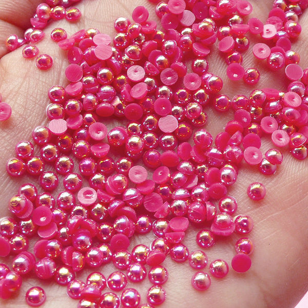 3mm AB Dark Pink Half Pearl Cabochons / Round Flat Back Faux Pearlized Cabochons (around 250-300 pcs) PEAB-D3