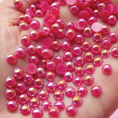 5mm AB Dark Pink Half Pearl Cabochons / Round Flat Back Faux Pearlized Cabochons (around 150 pcs) PEAB-D5