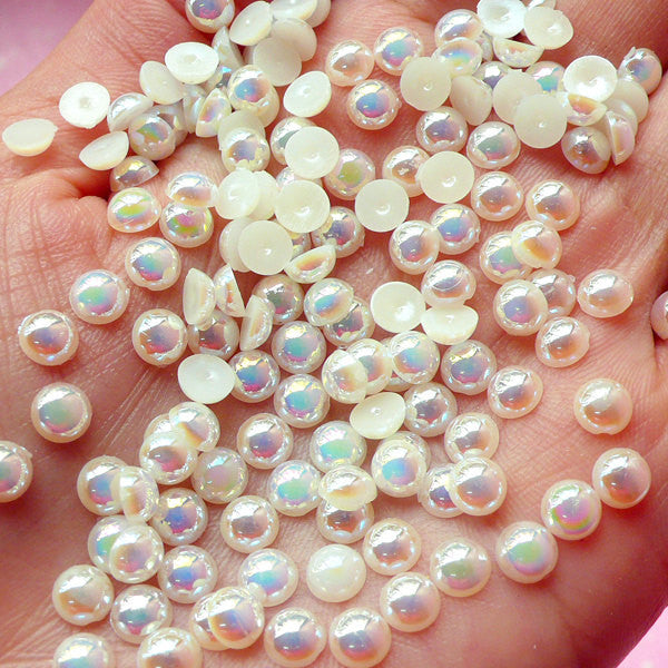 5mm AB Cream White Half Pearl Cabochons / Round Flat Back Faux Pearlized Cabochons (around 150 pcs) PEAB-C5