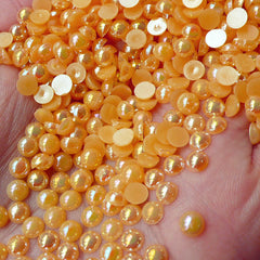 4mm AB ORANGE Half Pearl Cabochons / Round Flat Back Faux Pearlized Cabochons (around 200-250 pcs) PEAB-O4