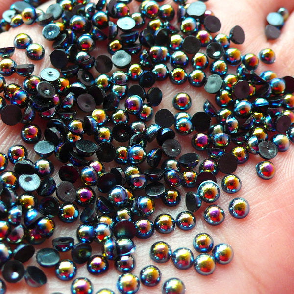 3mm AB BLACK Half Pearl Cabochons / Round Flat Back Faux Pearlized Cabochons (around 250-300 pcs) PEAB-K3