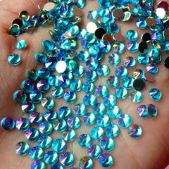 AB Blue TIP TOP Faceted Rhinestones (4mm) (Around 150 pcs) Cell Phone Decoration, Jewelry Making, Scrapbooking, Nail Deco RHTT405