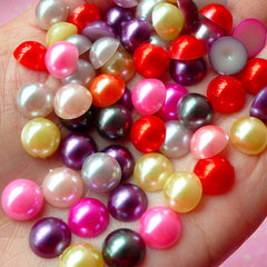 9mm Assorted Faux Pearl Cabochons Mix / Colorful Pearl Mix (Round / Half) (50pcs) PEMC15
