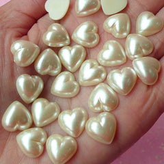 11mm Heart Pearl Flat Back / Pearlized Heart Faux Pearl Cabochons (CREAM WHITE) (around 20 pcs) PES61