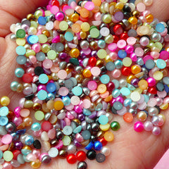 3mm Assorted Faux Pearl Cabochons Mix / Colorful Pearl Mix (Round / Half) (250-300pcs) PEMC3