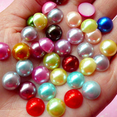 CLEARANCE 10mm Assorted Faux Pearl Cabochons Mix / Colorful Pearl Mix (Round / Half) (40pcs) PEMC16