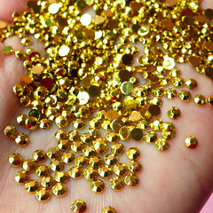 3mm Round Rhinestones | Faceted Resin Rhinestones (Gold / Around 1000 pcs)
