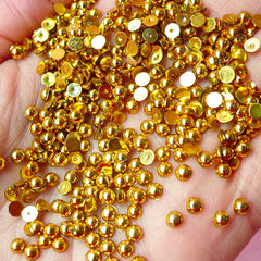 3mm GOLD Half Pearl Cabochons / Round Flat Back Faux Pearlized Cabochons (around 250-300 pcs) PE03