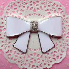 Rhinestone Ribbon Cabochon / Metal Bow Cabochon (White / 64mm x 41mm) Large Embellishment Bling Decor Jewelry DIY Big Decoden Piece CAB135