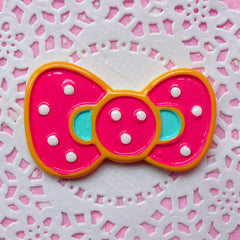 Polka Dot Bow Cabochon / Kawaii Bowtie Cabochon / Pink Bow Tie (49mm x 30mm) Decora Phone Case Japanese Decoden Supplies Scrapbooking CAB137