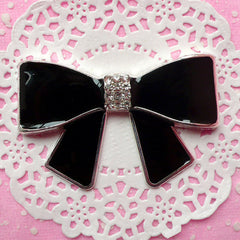 Black Ribbon Metal Cabochon w/ Rhinestones (64mm x 41mm) Cell Phone Case Deco Bling Jewellery Wedding Decoration Bow Embellishment CAB136