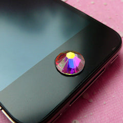 Swarovski Rhinestones (11mm) 2058 Swarovski Elements (Flat Back) 14 Faceted Cut Crystal (Clear AB) (1pc) iPhone Home Button Deco RH-SW007