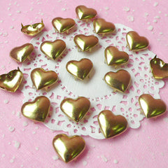 Rivet / GOLD Metal HEART Rivet Studs 17mm (around 30pcs) for Leather Craft / Jean Button, etc  RT25