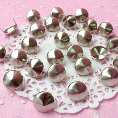 Rivet / SILVER Metal ROUND Rivet Studs 12mm (around 30pcs) for Leather Craft / Jean Button, etc RT27