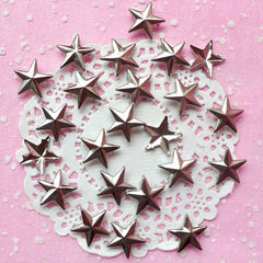 Rivet / SILVER Metal STAR Rivet Studs 16mm (around 30pcs) for Leather Craft / Jean Button, etc  RT20
