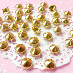 Rivet / GOLD Metal ROUND Rivet Studs 9mm (around 30pcs) for Leather Craft / Jean Button, etc RT29
