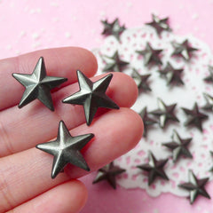 Rivet / BLACK Metal STAR Rivet Studs 16mm (around 30pcs) for Leather Craft / Jean Button, etc  RT22