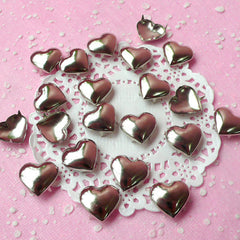 Rivet / SILVER Metal HEART Rivet Studs 17mm (around 30pcs) for Leather Craft / Jean Button, etc  RT24