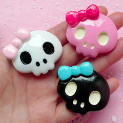 Large Skull with Bow Cabochon / Kawaii Lady Skull Cab (3pcs / 40mm x 37mm / Black, Pink & White / Flatback) Sweet Gothic Lolita Deco CAB148