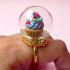 Miniature Terrarium Ring / Clear Glass Globe / Glass Bottle / Glass Bubble / Glass Dome (24mm) with Gold Lace Adjustable Ring (1 Set) F046