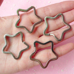 Split Ring Star / Star Split Key Ring / Key Holder Star / Key Clasps / Key Chain Star / Keyring Star / Key Fob (34mm / Silver / 4 pcs) F051