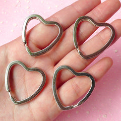 Keyring Heart / Split Ring / Key Holders / Heart Split Key Ring / Key Clasp / Heart Keychains / Key Tag (31mm x 32mm / Silver / 4pcs) F052