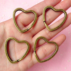 Keychain Heart / Heart Keyrings / Heart Split Ring / Key Holder / Split Key Rings / Key Clasps / Key Fob (31mm x 32mm / Bronze / 4pcs) F054