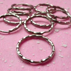 Silver Keychain Round / Split Key Rings / Key Holder / Split Ring / Keyrings / Key Clasps / Key Tag / Key Fob (28mm / Silver / 10 pcs) F056