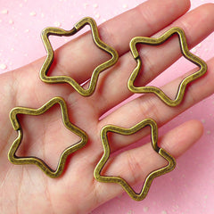Split Key Ring Star / Star Key Holder / Star Split Rings / Key Clasp / Star Key Chains / Star Keyring / Key Tag (34mm / Bronze / 4 pcs) F053