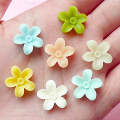 Mini Flower Cabochon Mix / Assorted Resin Floral Cabochon Set (7pcs / 14mm / Pastel Color) Stud Earrings Making Hair Bow Centers CAB151