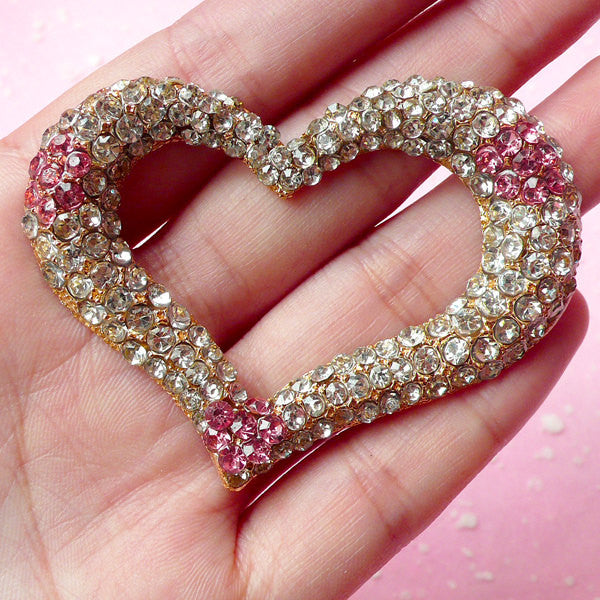 Bling Bling Heart Cabochon / Large Rhinestone Metal Cabochon (Light Pink / 63mm x 49mm) Wedding Party Decoration Valentines Day Decor CAB162